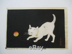 Rare Japanese Woodblock Print Cat Kitten Kitty White W Ball Of Yarn Mod Vintage