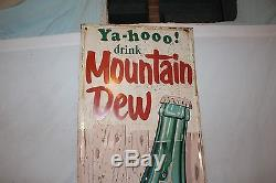 Rare Large Vintage 1967 Mountain Dew Soda Pop Bottle 54 Embossed Metal Sign