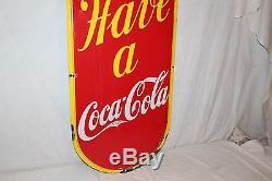 Rare Large Vintage c. 1940 Coca Cola Come In! Soda Pop 54 Porcelain Metal Sign