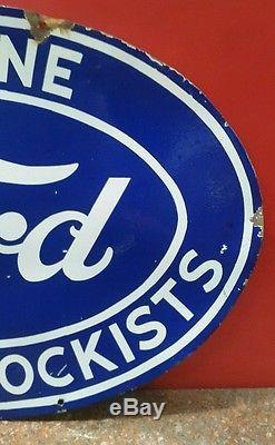 Rare Old VINTAGE 2 SIDEDGENUINE FORD PART STOCKISTSPorcelain Enamel Sign