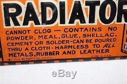 Rare Vintage 1920s X Liquid Car Radiator Stop Leak Gas Oil Embossed Metal Sign