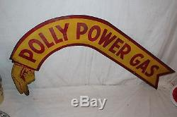 Rare Vintage 1930's Polly Power Gas Pump Station 2 Sided 35 Metal Sign