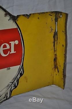 Rare Vintage 1940s Dr Pepper 10 2 4 Cola 18 Double Sided Metal Flange Sign