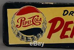 Rare Vintage 1954 Drink PEPSI-COLA Bottlecap Advertising Pressed Steel Sign