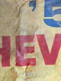 Rare Vintage 1957 Chevrolet Dealership Canvas Banner On Display Now
