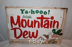 Rare Vintage 1967 Yahoo! Mountain Dew Soda Pop 28 Embossed Metal Sign