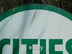 Rare Vintage 6' CITIES SERVICE Double Sided Porcelain Sign (Local Pickup Mich.)