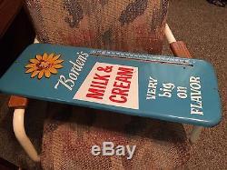 Rare Vintage Antique Bordens Dairy Milk Cow Tin Non Porcelain Thermometer Sign