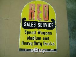 Rare Vintage Original Reo Motor Cars Sign Porcelain 2 Sided Auto Dealer Gas Oil