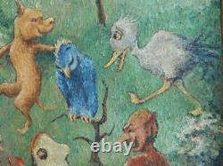 Rare Vintage P. M Van Zwoll Goblin Devil Fairy Tale Oil Painting 1930's Dr Seuss