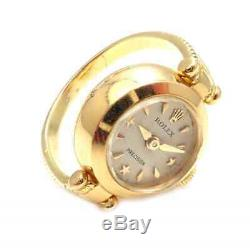 Rare! Vintage Rolex Triple Signed 18k Yellow Gold Watch Ring
