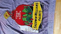 Rare Vintage Sherwin-Williams Paint SWP Porcelain Advertising Flange Sign