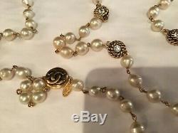 Rare Vintage Signed Chanel Lagerfeld Baroque Pearl, Rhinestone Gold Necklace Nr