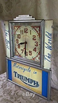 Rare Vintage Triumph Motorcycle Neon Advertising ClockDealership ClockArt Deco