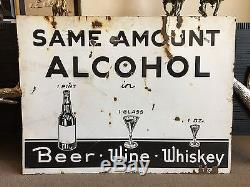 Rare Vintage WCTU Porcelain Sign Post Prohibition Double Sided Beer Wine Whiskey