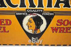 Rare Vintage c. 1930 Blackhawk Tools Gas Oil 23 Metal Oil Sign WithIndian
