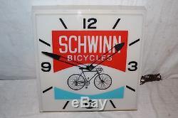 Rare Vintage c. 1970 Schwinn Bicycles Gas Oil 16 Lighted Clock SignWorks