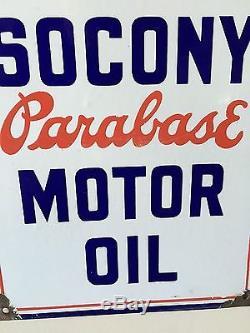 SOCONY Vintage porcelain pump plate gas Mobil rare parabase oil sign