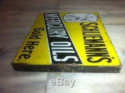 SUPER RARE MERCURY OILS VINTAGE FLANGE GAS PORCELAIN SIGN 1930s SUPER RARE