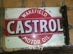 SUPER RARE VINTAGE ORIGINAL CASTROL RED MOTOR OIL PORCELAIN ENAMEL SIGN 1930s