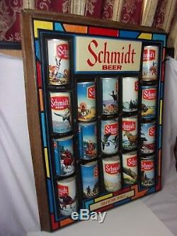 Schmidt Beer Plastic Beer Can Display Collector Series with Cans Vintage Sign T