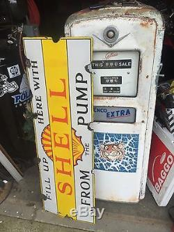 Shell Oil Gas Porcelain Sign 1924 Vintage Real 18 x 54 Enamel Antique pump old