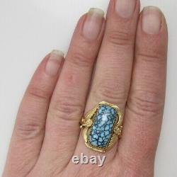 Signed Jag Navajo 14k Yellow Gold Spiderweb Turquoise Ring Vintage Handmade