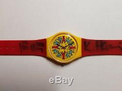 Signed Vintage 1985 Swatch Watch Modele Avec Personnages GZ100 Keith Haring