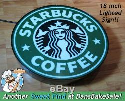 Starbucks 18 Vintage Lighted Authentic Store Sign with on/off switch Nice
