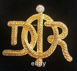 Stunning Vintage Christian Dior Crystal Brooch Pin Signed