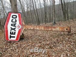 TEXACO 1950's Gasoline Station 2 Sided Porcelain Sign 17'ft Pole Vintage