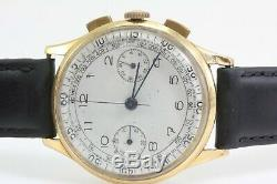 Tourneau by Breitling 18K Gold Vintage Chronograph Watch Ref. 760 Signed Turnheim
