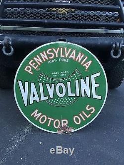 VERY RARE VINTAGE VALVOLINE MOTOR OIL 2-SIDED PORCELAIN SIGN Old Gas Pump