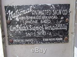 VINTAGE 1950's ROADSIDE ANIMATED ADVERTISING SIGN Drive-in, gas station, motel, etc