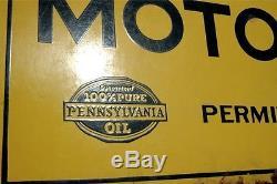 VINTAGE 20's FRANKLIN MOTOR OIL ORIGINAL 2-SIDED PORCELAIN SIGN With BEN FRANKLIN