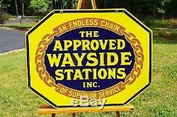 Vintage 27' Wayside Station Porcelain 2 Side Sign Piece Museum Quality Dead Mint