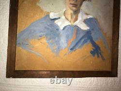 VINTAGE 30s woman portrait original oil painting by Maika Bryner listed artist