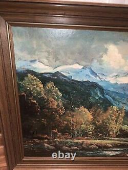 VINTAGE ART Robert Wood Grand Teton Framed Reproduction Print 53 X 29 SIGNED