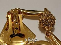 VINTAGE CHRISTIAN DIOR GOLD TONE CLIP ON EARRINGS SIGNED Dior R