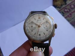 Vintage Chronograph Valjoux 22 Signed Gala Original And Working Condition