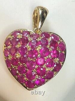 VINTAGE ESTATE 14K GOLD NATURAL RED RUBY HEART PENDANT SIGNED Tt 1 tcw