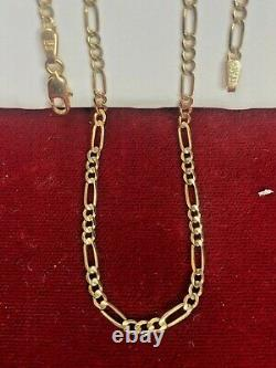 VINTAGE ESTATE 14k GOLD NECKLACE CHAIN 16 FIGARO MADE IN ITALY SIGNED