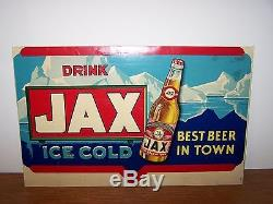 VINTAGE JAX BEER LITHOGRAPH Sign BOTTLE Cardboard Ad Jackson Brewing New Orleans