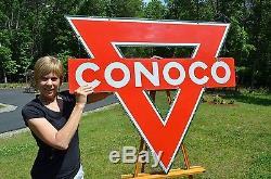 Vintage Lrg 47 Conoco Motor Oil Porcelain 2-sided Diecut Sign Unfindable Scarce