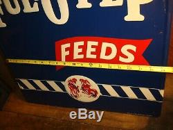 VINTAGE NOS LARGE FUL O PEP FARM FEEDS EMBOSSED TIN METAL SIGN With ROOSTERS