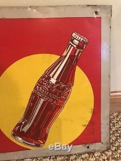 VINTAGE ORIGINAL 1940s Coca-Cola Embossed METAL SIGN