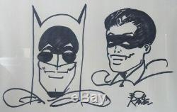 VINTAGE ORIGINAL ART DRAWING BATMAN ROBIN BY BOB KANE SIGNED 18x25 FRAMED with COA