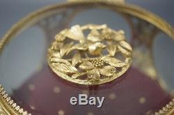 VINTAGE SIGNED MATSON DOGWOOD large BIRD ORMOLU GLASS VANITY JEWELRY CASKET BOX