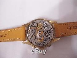 Vintage Zenith Chronograph Solid 18 K Gold Signed 0.75 Manual Wind