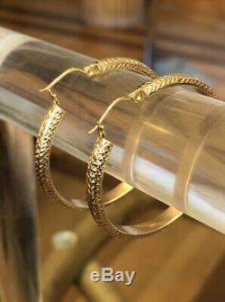 VTG 14 K Signed SLC Large Yellow Gold Diamond Cut Round Hoop Earrings 3.5 G